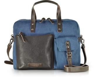 The Bridge Carver-D Canvas Briefcase w/Leather Front Pocket