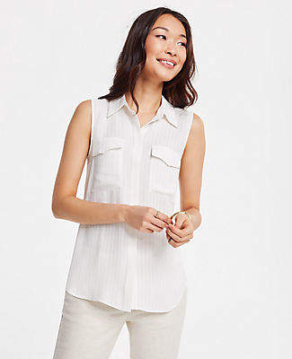 Ann Taylor Tall Striped Sleeveless Camp Shirt