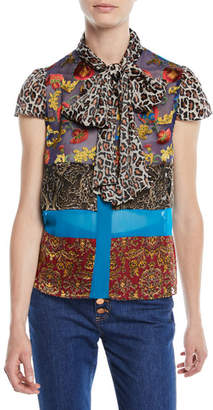 Alice + Olivia Jeannie Bow-Collar Mixed-Print Button-Front Blouse