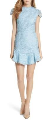 Alice + Olivia Rapunzel Curve Hem Lace Fit & Flare Dress