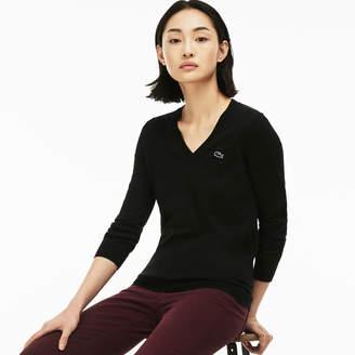 Lacoste Women's V-neck Jersey Sweater