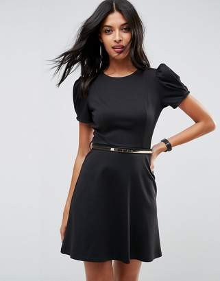 Asos Ponte Skater Mini Dress With Puff Sleeve And Belt