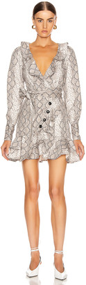 Marissa Webb Eli Mini Print Canvas Dress in White Python | FWRD