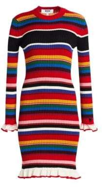 MSGM Striped Rib-Knit Sweater Dress