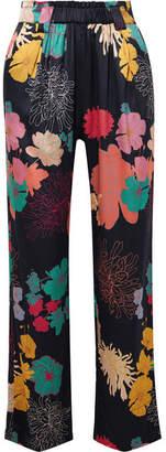 Stine Goya Vinnie Floral-print Silk-blend Charmeuse Straight-leg Pants - Black