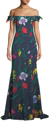 Carolina Herrera Off-the-Shoulder Bow-Straps Floral-Print Trumpet Evening Gown