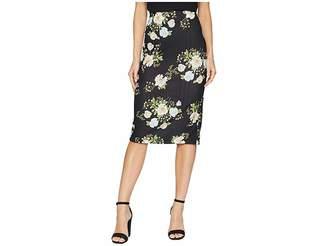 ECI Elastic Floral Midi Pique Skirt Women's Skirt