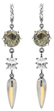 Bottega Veneta Sterling silver and 24kt gold earrings with chalcopyrite and cubic zirconia