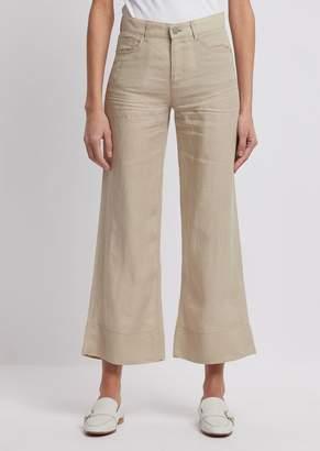 Emporio Armani Wide-Fit Trousers In Plain Woven Linen