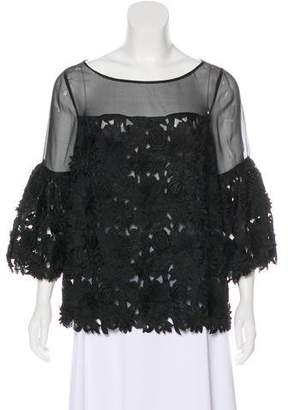 Prabal Gurung Lace-Trimmed Silk Top