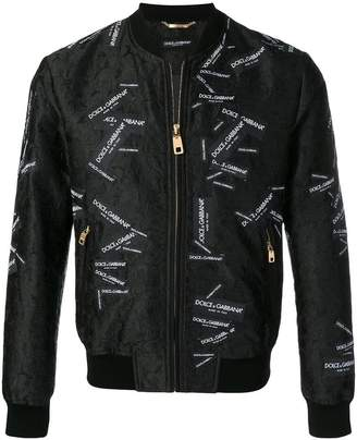 Dolce & Gabbana all over logo patches bomber jacket