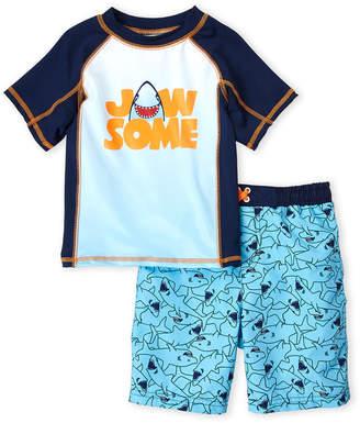 Bunz Kidz (Boys 4-7) Two-Piece Jaw Some Rash Guard & Board Shorts Set
