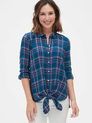 Gap Maternity Flannel Plaid Tie-Front Shirt