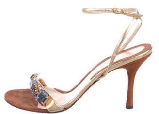 Dolce & Gabbana Leather Rhinestone Sandals Gold Leather Rhinestone Sandals