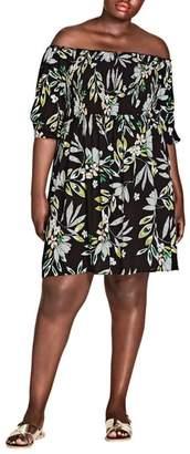 City Chic Maui Floral Off the Shoulder Dress