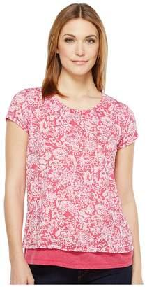 Mod-o-doc Wildflower Burnout Jersey Double Layer Short Sleeve Tee Women's T Shirt