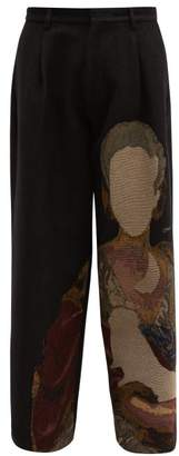 Off-White Off White Portrait Tapestry Tweed Wide Leg Trousers - Mens - Black Multi