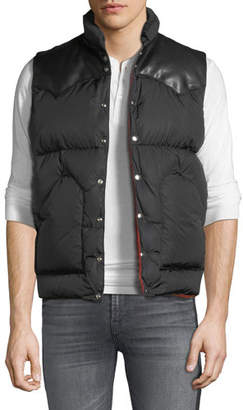 Palm Angels Men's Leather-Trim Down Puffer Vest