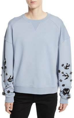 McQ Slouchy Beaded Crewneck Pullover Sweatshirt