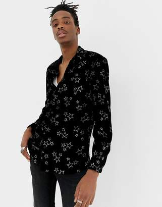 Jaded London long sleeve velvet shirt in black with glitter stars