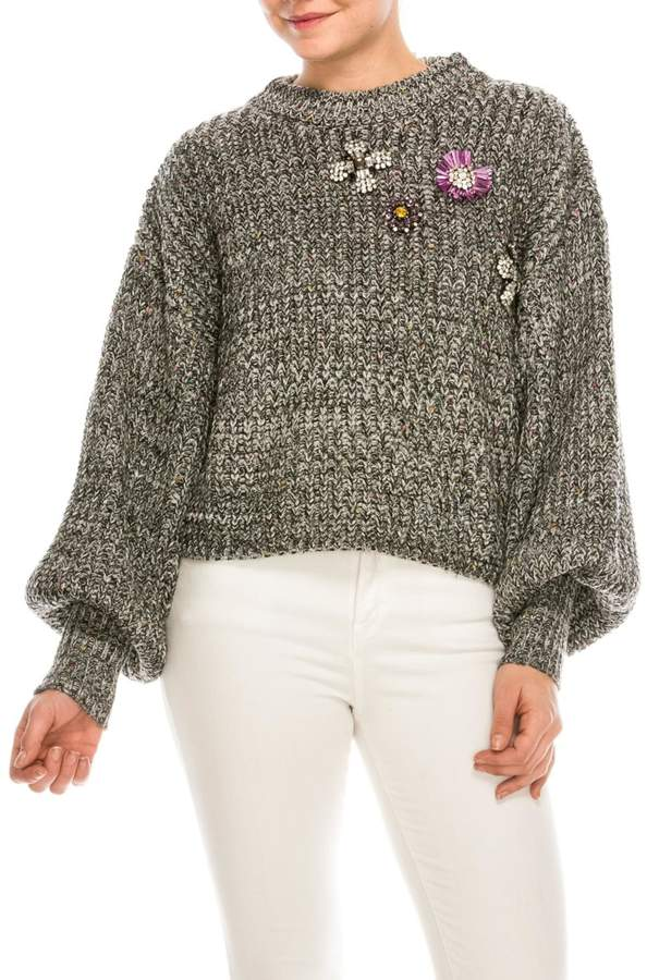 shop 17 Jewel Front Sweater