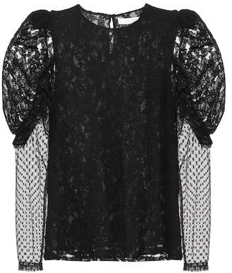 See by Chloe Lace and cotton-blend top