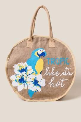 francesca's Tropic Like It's Hot Jute Tote - Natural