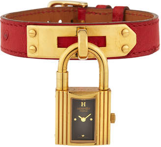 Hermes Estate Kelly Watch w/ Leather, Gold/Red
