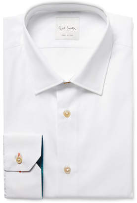 Paul Smith White Slim-Fit Contrast-Cuff Cotton-Poplin Shirt - White