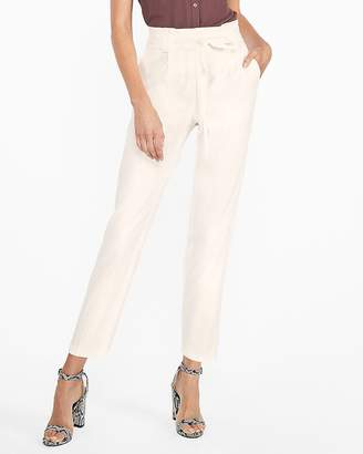 Express High Waisted Linen-Blend Sash Tie Ankle Pant