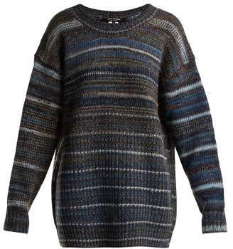 Junya Watanabe Striped Wool Blend Knitted Sweater - Womens - Blue
