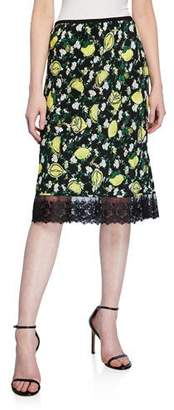 Diane von Furstenberg Chrissy Lemon-Print A-Line Skirt with Lace
