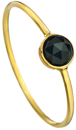 Ariel Gordon Gold Mini Stacking Ring with Rose Cut Onyx Stone