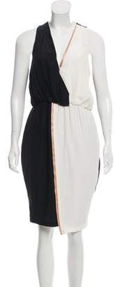 Elizabeth and James Silk Colorblock V-Neck A-Line Midi Dress