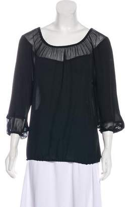 Tamara Mellon Pleated Long Sleeve Blouse
