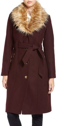 Women's Guess Trench Coat With Faux Fur Trim $258 thestylecure.com