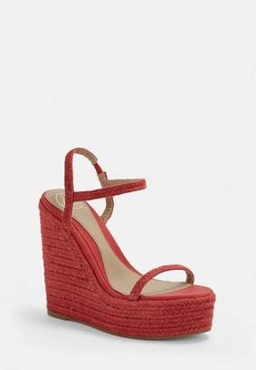 Missguided Red Two Strap Jute Wedges