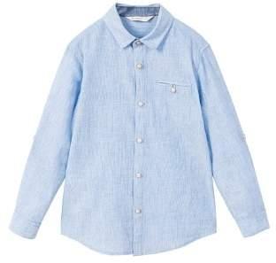 MANGO Striped linen-blend shirt
