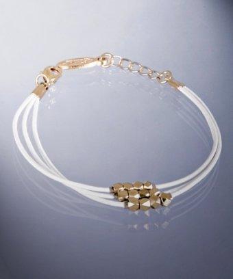 Ettika white triple leather nugget beaded bracelet