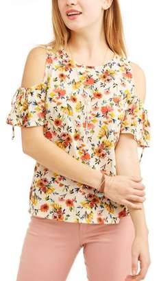 Self Esteem Juniors' Printed Cold Shoulder Necklace 2fer