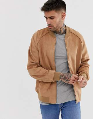 Design DESIGN faux suede bomber jacket in tan