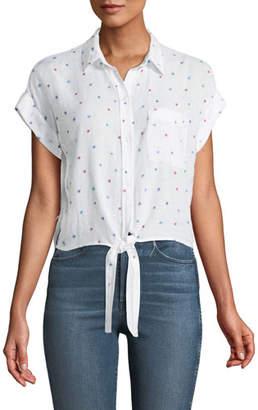 Rails Amelie Star-Print Tie-Front Top