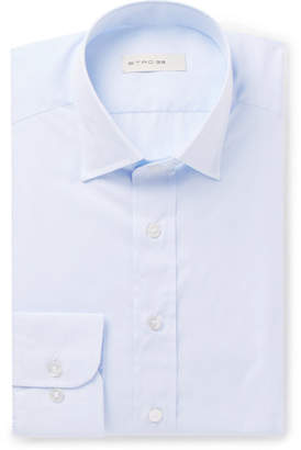 Etro Light-Blue Slim-Fit Striped Cotton-Jacquard Shirt - Light blue