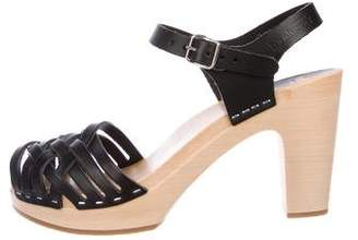 Swedish Hasbeens Leather Platform Sandals