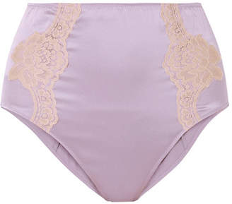Fleur Du Mal Lace-trimmed Silk-satin Briefs - Lilac