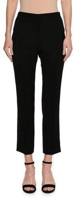 Piazza Sempione Audrey Flat-Front Cropped Straight-Leg Pants, Black