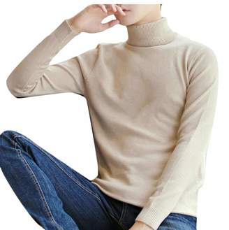 Gocgt Men Turtleneck Sweater Knitted Pullover Sweaters L
