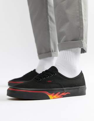 Vans Classics Authentic Flame Pack Sneakers In Black VA38EMQ8Q