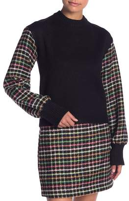ENGLISH FACTORY Checkered Sleeve Knit Top