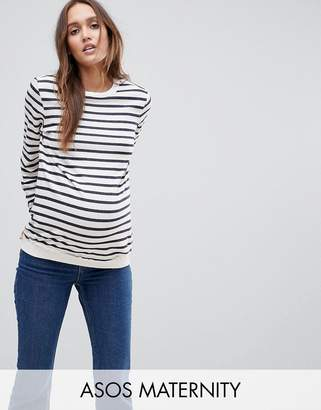 ASOS Maternity Boyfriend Sweatshirt In Stripe $26 thestylecure.com